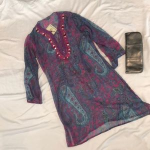 Other - Sheer printed and beaded tunic